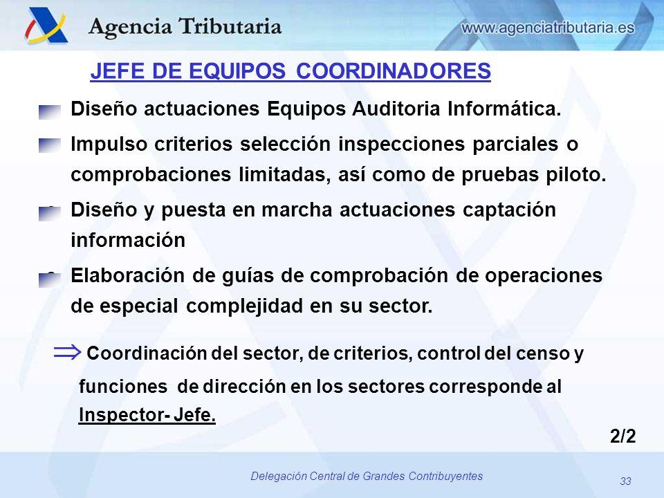 33 Delegación Central de Grandes Contribuyentes JEFE DE EQUIPOS COORDINADORES oDiseño actuaciones Equipos Auditoria Informática. oImpulso criterios se