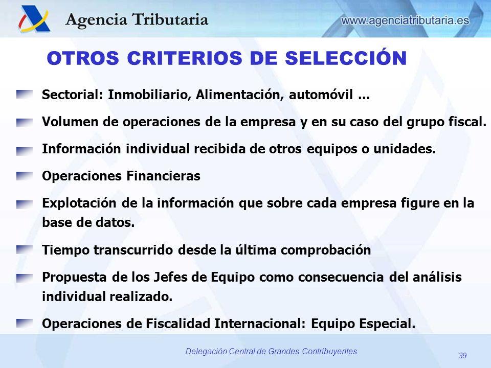 39 Delegación Central de Grandes Contribuyentes OTROS CRITERIOS DE SELECCIÓN Sectorial: Inmobiliario, Alimentación, automóvil... Volumen de operacione