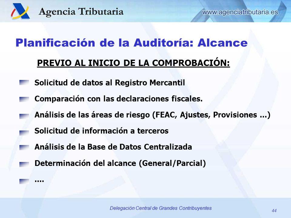 44 Delegación Central de Grandes Contribuyentes Planificación de la Auditoría: Alcance Solicitud de datos al Registro Mercantil Comparación con las de