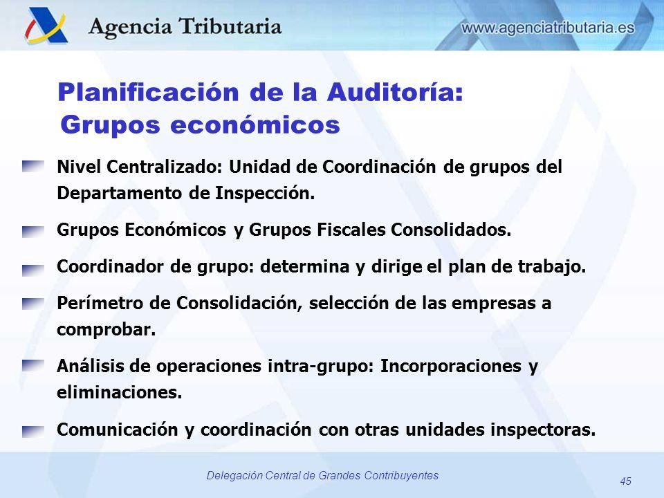 45 Delegación Central de Grandes Contribuyentes Planificación de la Auditoría: Grupos económicos Nivel Centralizado: Unidad de Coordinación de grupos