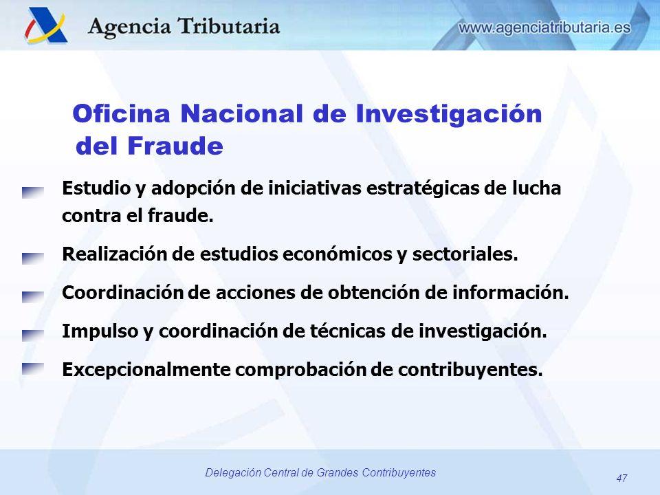 47 Delegación Central de Grandes Contribuyentes Oficina Nacional de Investigación del Fraude Estudio y adopción de iniciativas estratégicas de lucha c