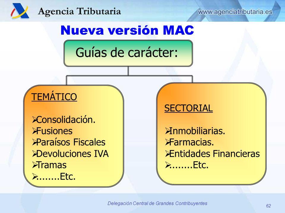 62 Delegación Central de Grandes Contribuyentes SECTORIAL Inmobiliarias. Farmacias. Entidades Financieras........Etc. TEMÁTICO Consolidación. Fusiones