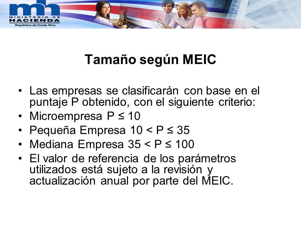 Clasificación según Ministerio de Hacienda Microempresa Equivale a la población que compone el Régimen de Tributación Simplificada