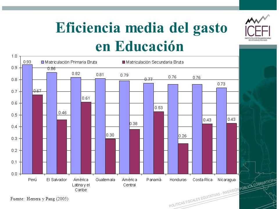 Eficiencia media del gasto en Educación Fuente: Herrera y Pang (2005)