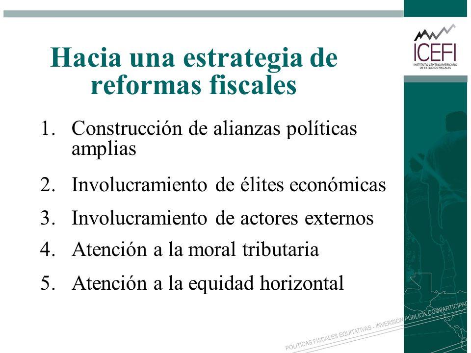 Hacia una estrategia de reformas fiscales 1.Construcción de alianzas políticas amplias 2.Involucramiento de élites económicas 3.Involucramiento de act