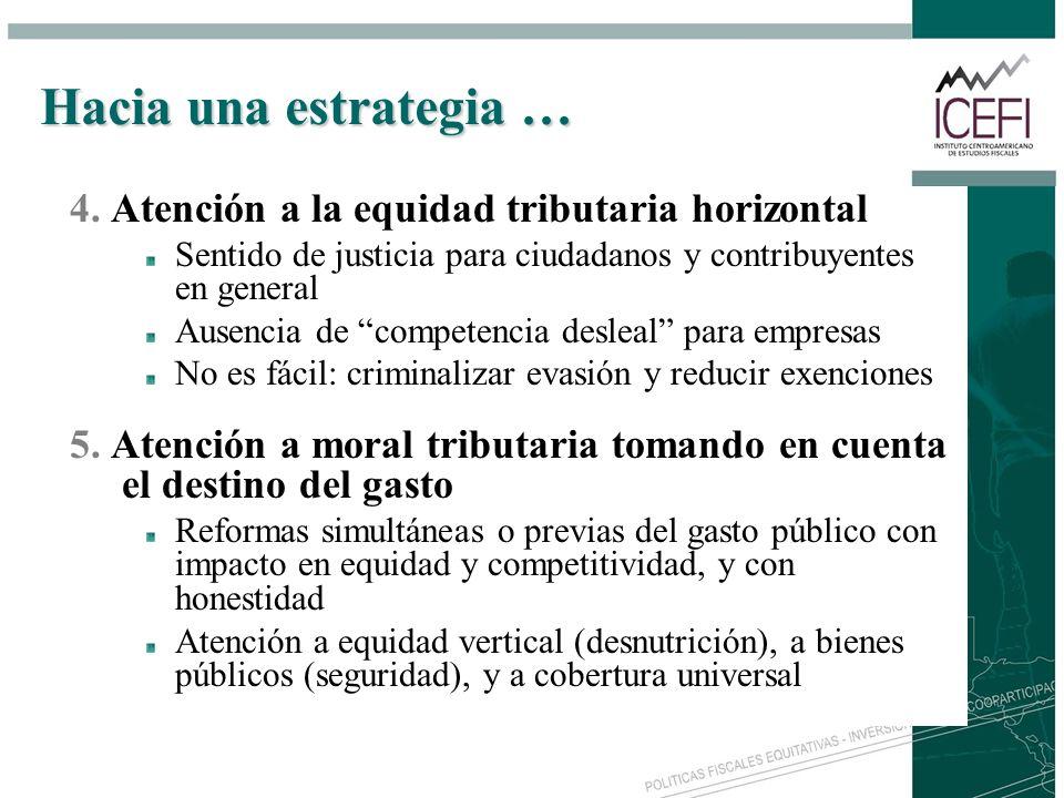 Hacia una estrategia … 4. Atención a la equidad tributaria horizontal Sentido de justicia para ciudadanos y contribuyentes en general Ausencia de comp