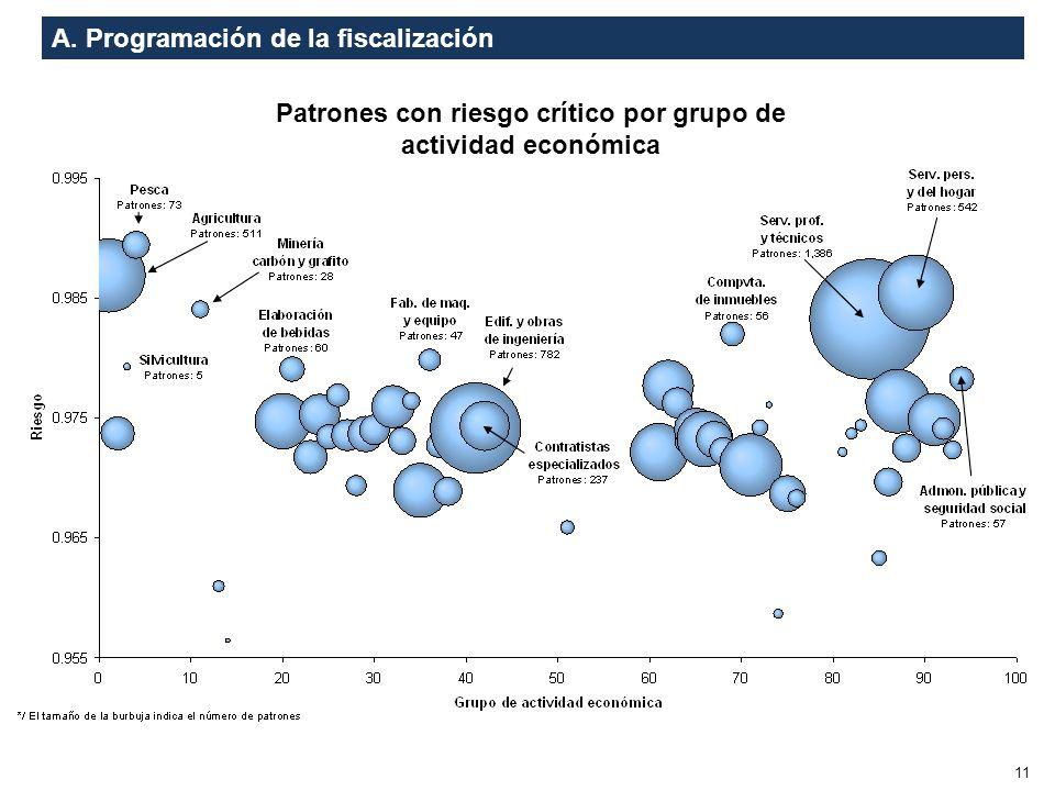 A. Programación de la fiscalización 11 Patrones con riesgo crítico por grupo de actividad económica
