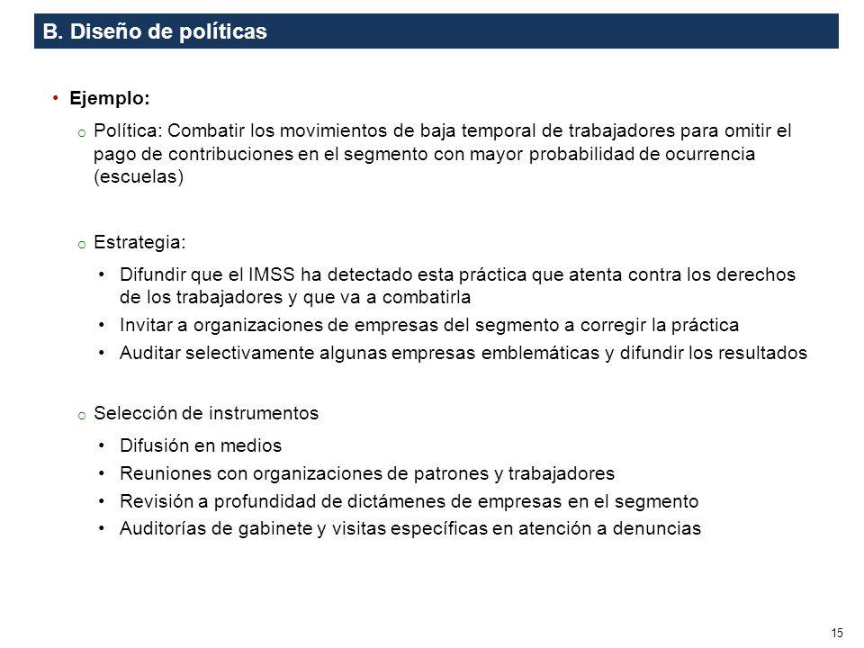 B. Diseño de políticas Ejemplo: o Política: Combatir los movimientos de baja temporal de trabajadores para omitir el pago de contribuciones en el segm