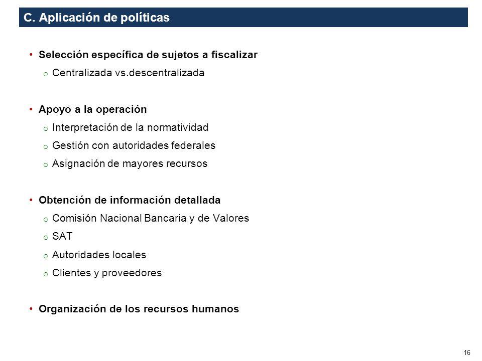 C. Aplicación de políticas Selección específica de sujetos a fiscalizar o Centralizada vs.descentralizada Apoyo a la operación o Interpretación de la