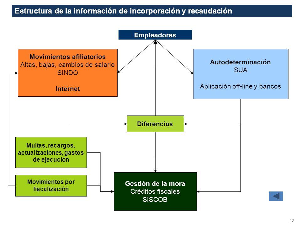 Estructura de la información de incorporación y recaudación 22 Movimientos afiliatorios Altas, bajas, cambios de salario SINDO Internet Autodeterminac