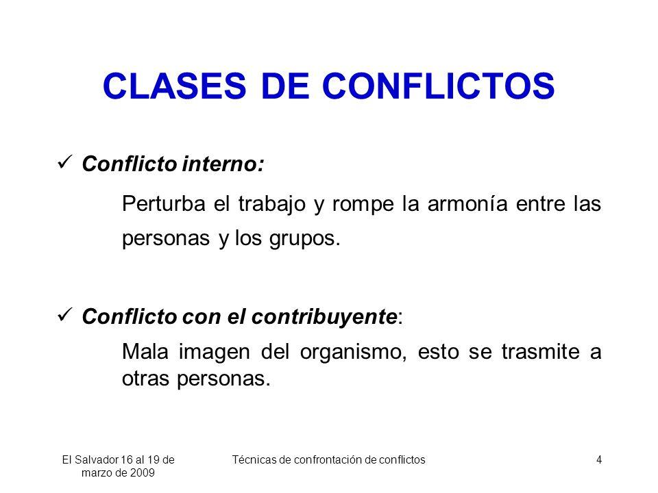 El Salvador 16 al 19 de marzo de 2009 Técnicas de confrontación de conflictos4 CLASES DE CONFLICTOS Conflicto interno: Perturba el trabajo y rompe la