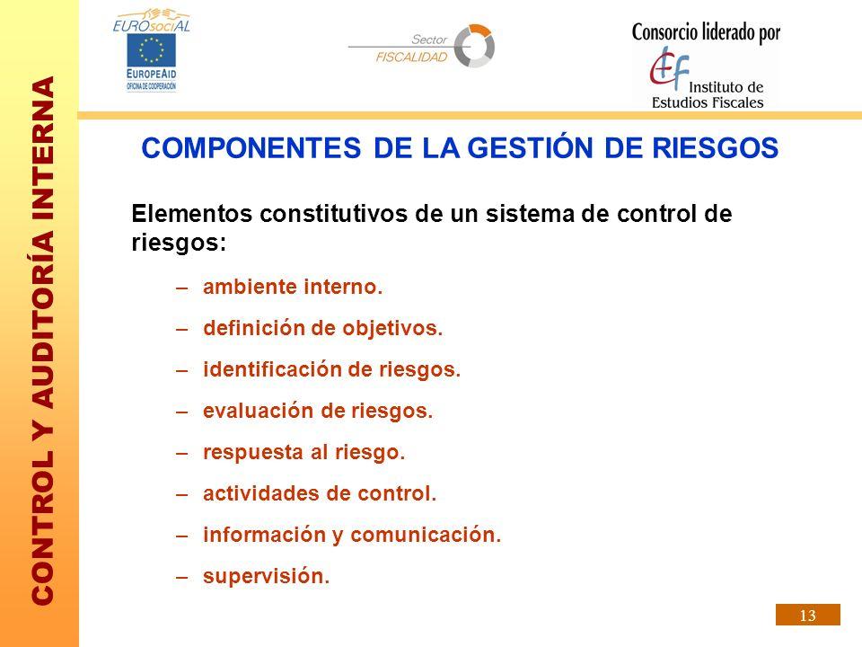 CONTROL Y AUDITORÍA INTERNA 13 Elementos constitutivos de un sistema de control de riesgos: –ambiente interno. –definición de objetivos. –identificaci
