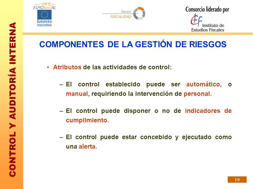 CONTROL Y AUDITORÍA INTERNA 19 Atributos de las actividades de control: –El control establecido puede ser automático, o manual, requiriendo la interve