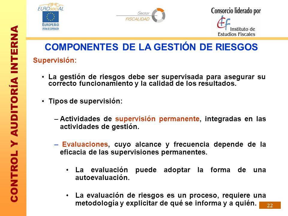 CONTROL Y AUDITORÍA INTERNA 22 Supervisión: La gestión de riesgos debe ser supervisada para asegurar su correcto funcionamiento y la calidad de los re