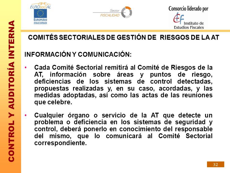 CONTROL Y AUDITORÍA INTERNA 32 INFORMACIÓN Y COMUNICACIÓN: Cada Comité Sectorial remitirá al Comité de Riesgos de la AT, información sobre áreas y pun