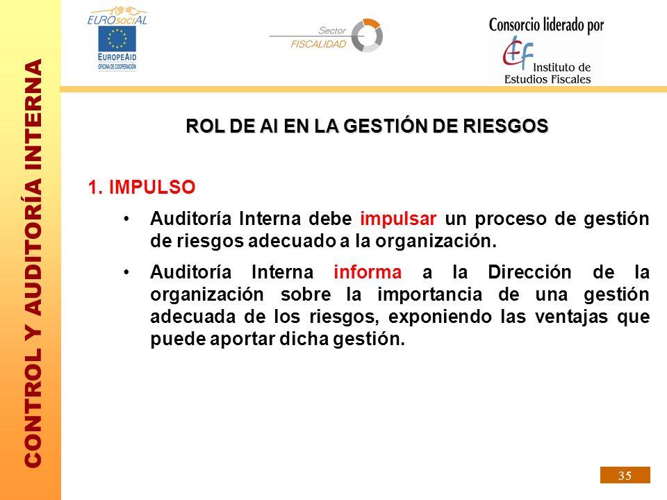CONTROL Y AUDITORÍA INTERNA 35 1.IMPULSO Auditoría Interna debe impulsar un proceso de gestión de riesgos adecuado a la organización. Auditoría Intern