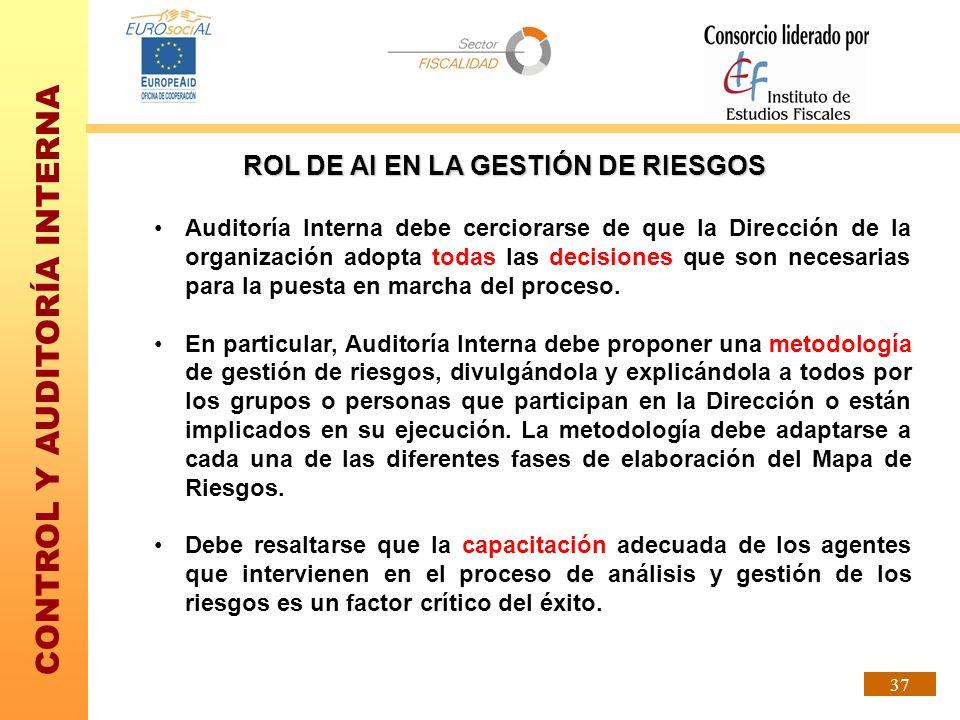 CONTROL Y AUDITORÍA INTERNA 37 Auditoría Interna debe cerciorarse de que la Dirección de la organización adopta todas las decisiones que son necesaria