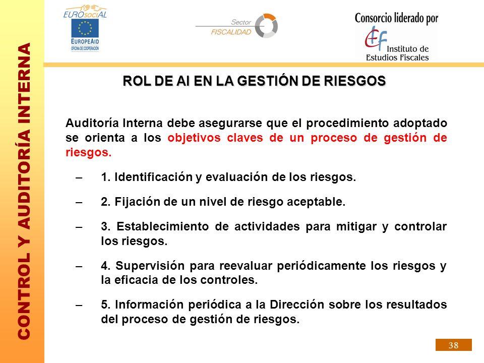 CONTROL Y AUDITORÍA INTERNA 38 Auditoría Interna debe asegurarse que el procedimiento adoptado se orienta a los objetivos claves de un proceso de gest