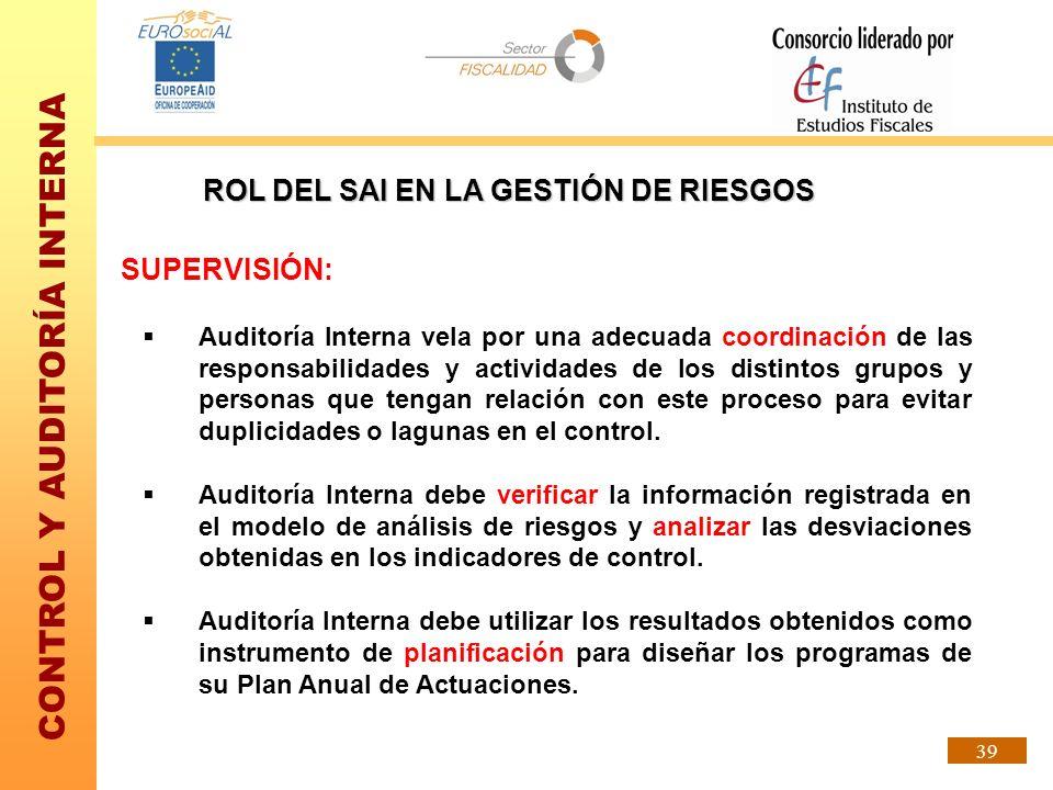 CONTROL Y AUDITORÍA INTERNA 39 SUPERVISIÓN: Auditoría Interna vela por una adecuada coordinación de las responsabilidades y actividades de los distint