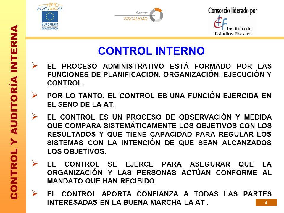 CONTROL Y AUDITORÍA INTERNA 4 CONTROL INTERNO EL PROCESO ADMINISTRATIVO ESTÁ FORMADO POR LAS FUNCIONES DE PLANIFICACIÓN, ORGANIZACIÓN, EJECUCIÓN Y CON
