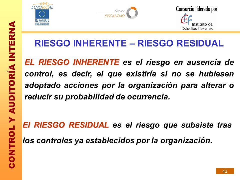 CONTROL Y AUDITORÍA INTERNA 42 RIESGO INHERENTE – RIESGO RESIDUAL EL RIESGO INHERENTE EL RIESGO INHERENTE es el riesgo en ausencia de control, es deci