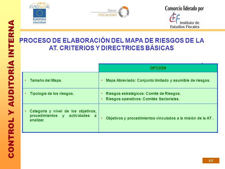 CONTROL Y AUDITORÍA INTERNA 45 PROCESO DE ELABORACIÓN DEL MAPA DE RIESGOS DE LA AT. CRITERIOS Y DIRECTRICES BÁSICAS OPCIÓN Tamaño del Mapa.Mapa Abrevi