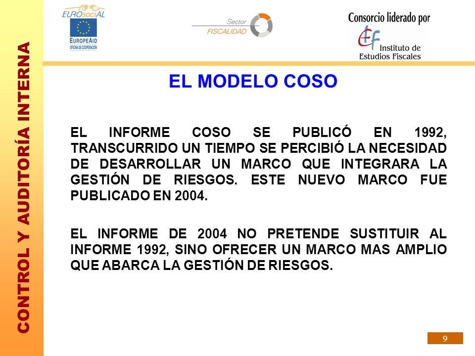 CONTROL Y AUDITORÍA INTERNA 9 EL MODELO COSO EL INFORME COSO SE PUBLICÓ EN 1992, TRANSCURRIDO UN TIEMPO SE PERCIBIÓ LA NECESIDAD DE DESARROLLAR UN MAR