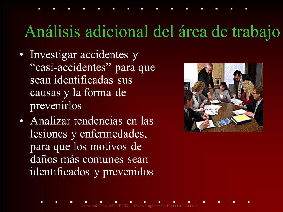 Análisis adicional del área de trabajo Investigar accidentes y casi-accidentes para que sean identificadas sus causas y la forma de prevenirlos Analiz