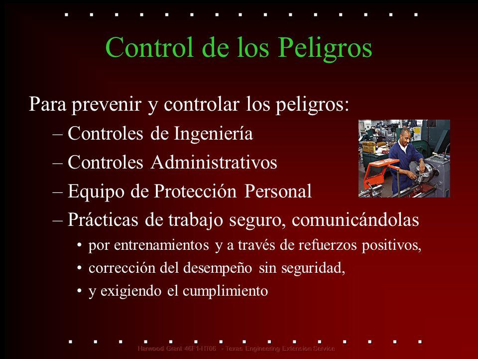 Control de los Peligros Para prevenir y controlar los peligros: –Controles de Ingeniería –Controles Administrativos –Equipo de Protección Personal –Pr