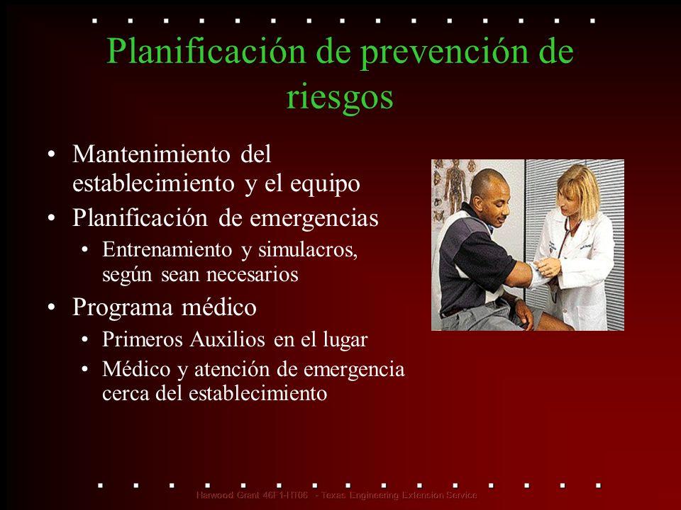 Planificación de prevención de riesgos Mantenimiento del establecimiento y el equipo Planificación de emergencias Entrenamiento y simulacros, según se