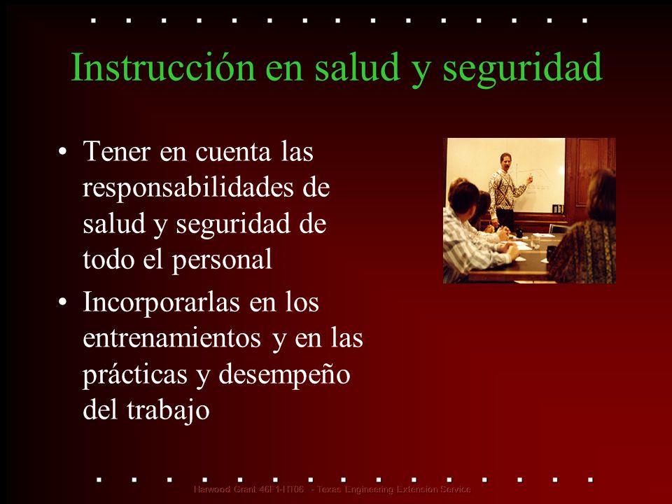 Instrucción en salud y seguridad Tener en cuenta las responsabilidades de salud y seguridad de todo el personal Incorporarlas en los entrenamientos y