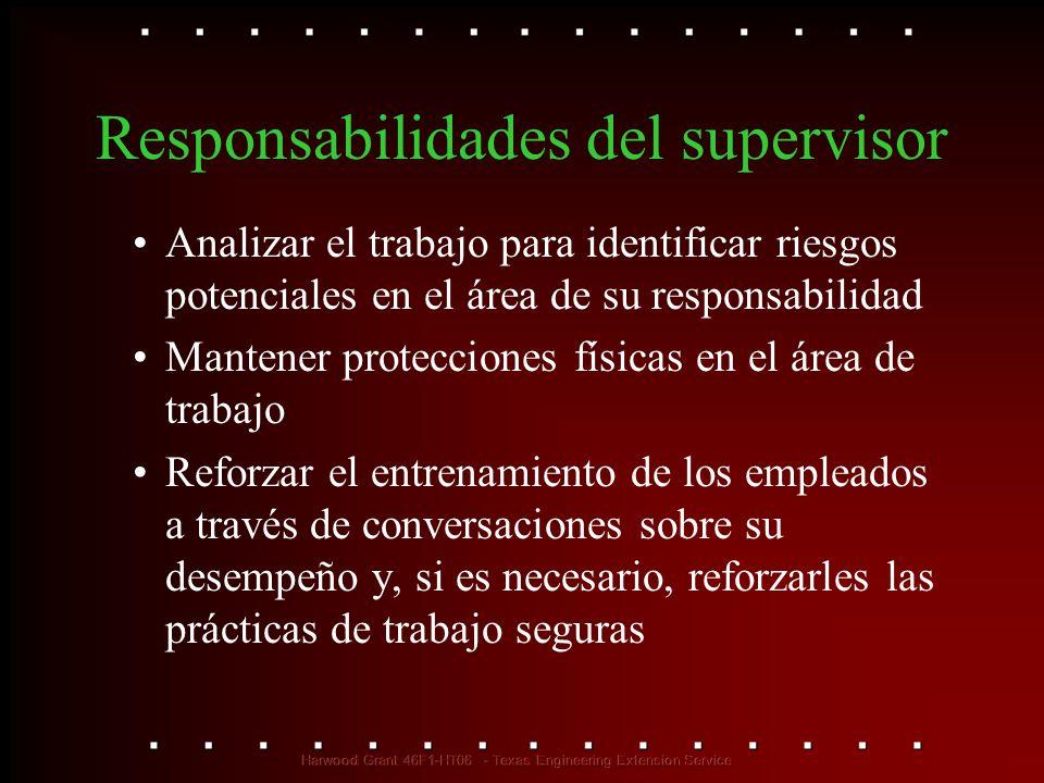 Responsabilidades del supervisor Analizar el trabajo para identificar riesgos potenciales en el área de su responsabilidad Mantener protecciones físic