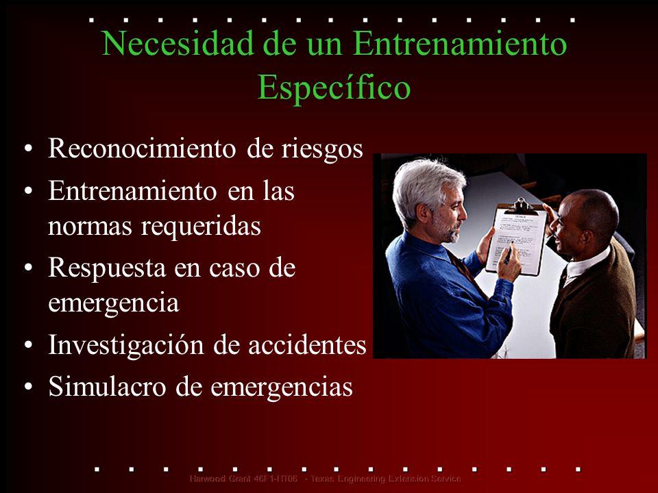 Necesidad de un Entrenamiento Específico Reconocimiento de riesgos Entrenamiento en las normas requeridas Respuesta en caso de emergencia Investigació