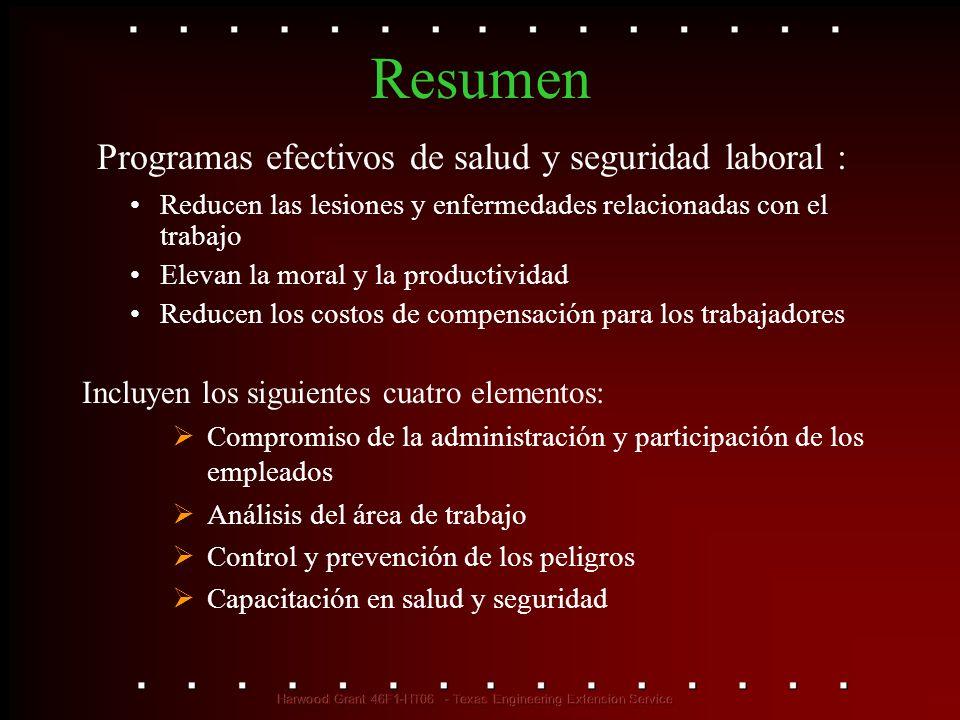 Resumen Reducen las lesiones y enfermedades relacionadas con el trabajo Elevan la moral y la productividad Reducen los costos de compensación para los