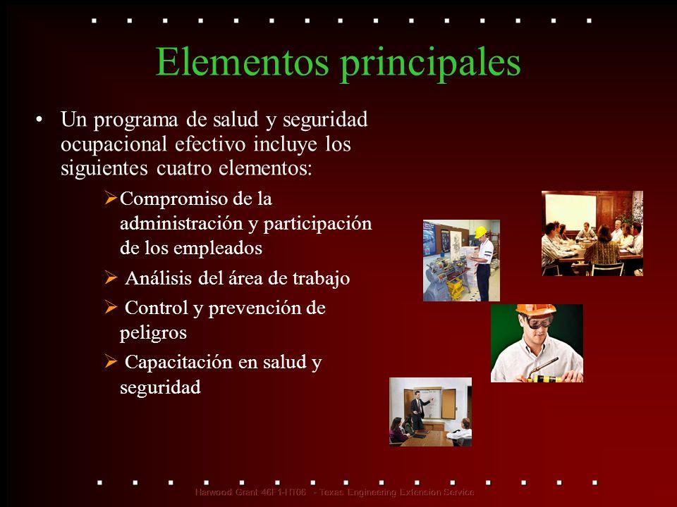 Elementos principales Un programa de salud y seguridad ocupacional efectivo incluye los siguientes cuatro elementos: Compromiso de la administración y