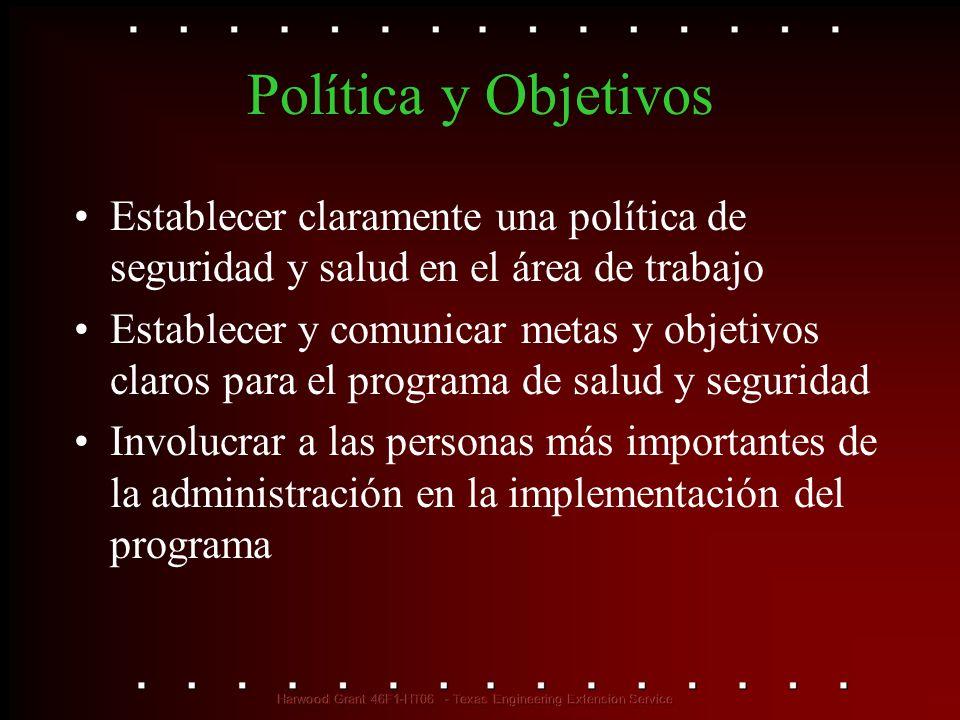Política y Objetivos Establecer claramente una política de seguridad y salud en el área de trabajo Establecer y comunicar metas y objetivos claros par