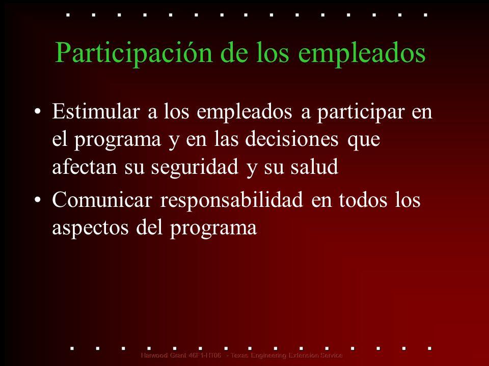 Participación de los empleados Estimular a los empleados a participar en el programa y en las decisiones que afectan su seguridad y su salud Comunicar