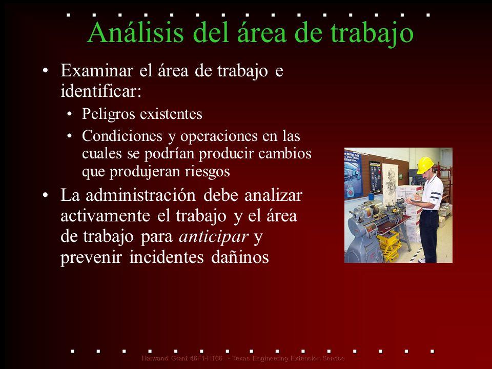 Análisis del área de trabajo Examinar el área de trabajo e identificar: Peligros existentes Condiciones y operaciones en las cuales se podrían produci