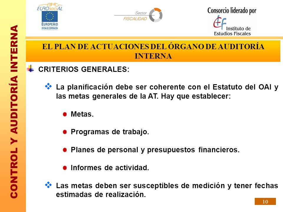 CONTROL Y AUDITORÍA INTERNA 10 CRITERIOS GENERALES: La planificación debe ser coherente con el Estatuto del OAI y las metas generales de la AT. Hay qu