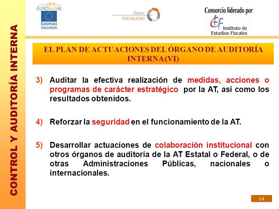 CONTROL Y AUDITORÍA INTERNA 14 EL PLAN DE ACTUACIONES DEL ÓRGANO DE AUDITORÍA INTERNA (VI) 3)Auditar la efectiva realización de medidas, acciones o pr