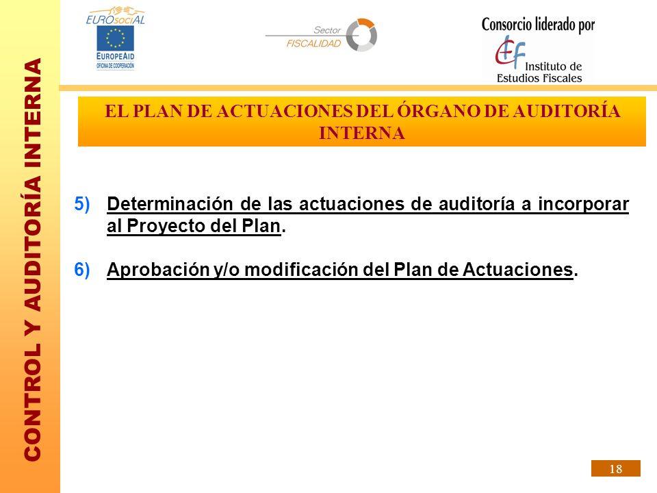 CONTROL Y AUDITORÍA INTERNA 18 EL PLAN DE ACTUACIONES DEL ÓRGANO DE AUDITORÍA INTERNA 5)Determinación de las actuaciones de auditoría a incorporar al