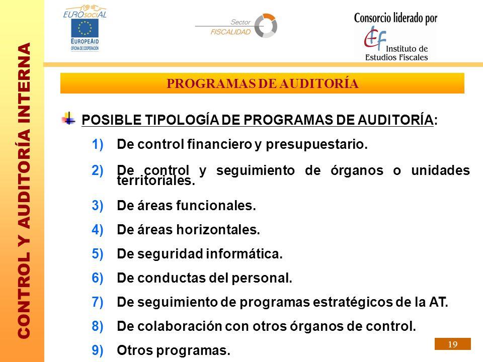 CONTROL Y AUDITORÍA INTERNA 19 PROGRAMAS DE AUDITORÍA POSIBLE TIPOLOGÍA DE PROGRAMAS DE AUDITORÍA: 1)De control financiero y presupuestario. 2)De cont