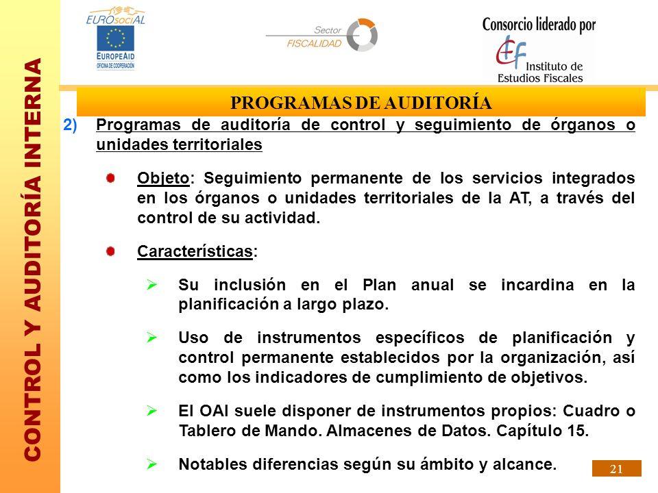CONTROL Y AUDITORÍA INTERNA 21 PROGRAMAS DE AUDITORÍA 2)Programas de auditoría de control y seguimiento de órganos o unidades territoriales Objeto: Se