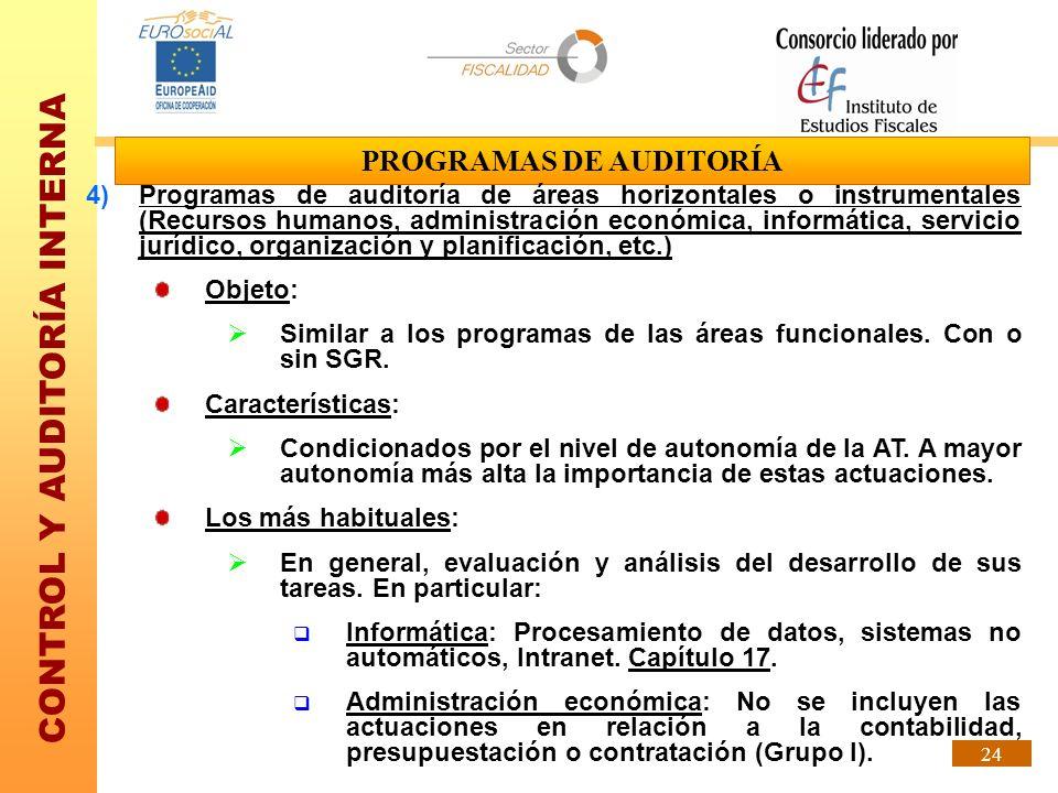 CONTROL Y AUDITORÍA INTERNA 24 PROGRAMAS DE AUDITORÍA 4)Programas de auditoría de áreas horizontales o instrumentales (Recursos humanos, administració
