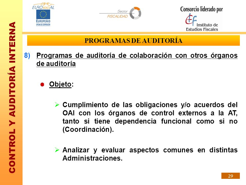 CONTROL Y AUDITORÍA INTERNA 29 PROGRAMAS DE AUDITORÍA 8)Programas de auditoría de colaboración con otros órganos de auditoría Objeto: Cumplimiento de