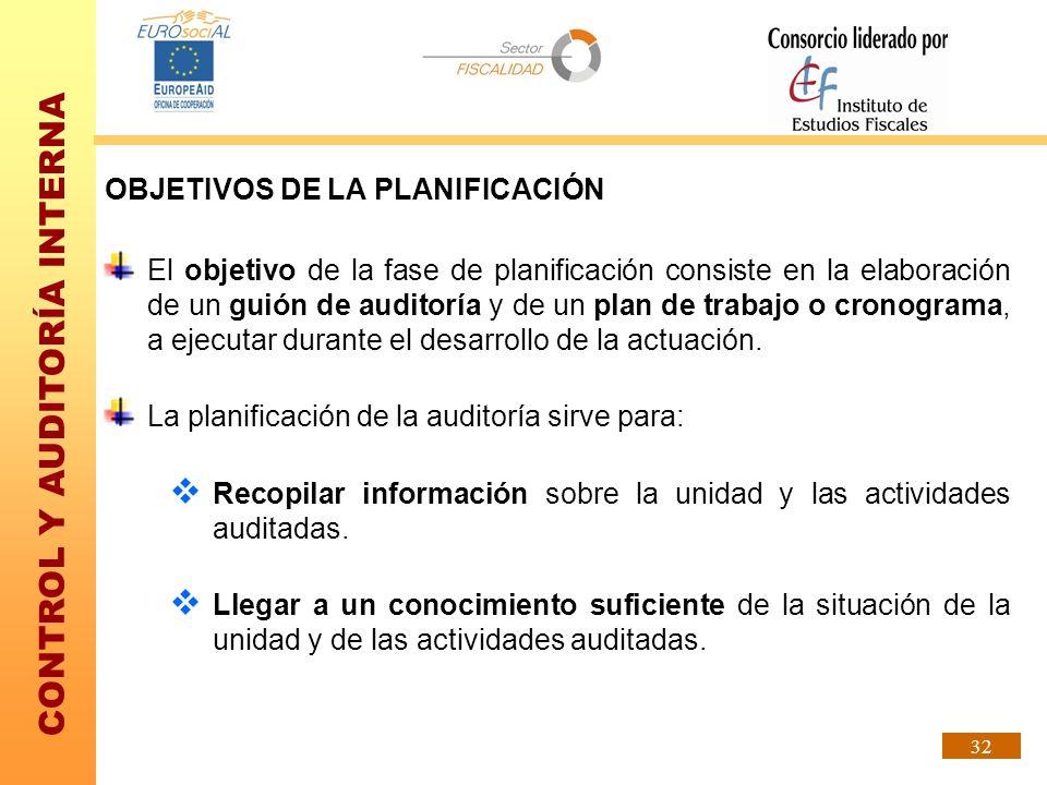CONTROL Y AUDITORÍA INTERNA 32 OBJETIVOS DE LA PLANIFICACIÓN El objetivo de la fase de planificación consiste en la elaboración de un guión de auditor