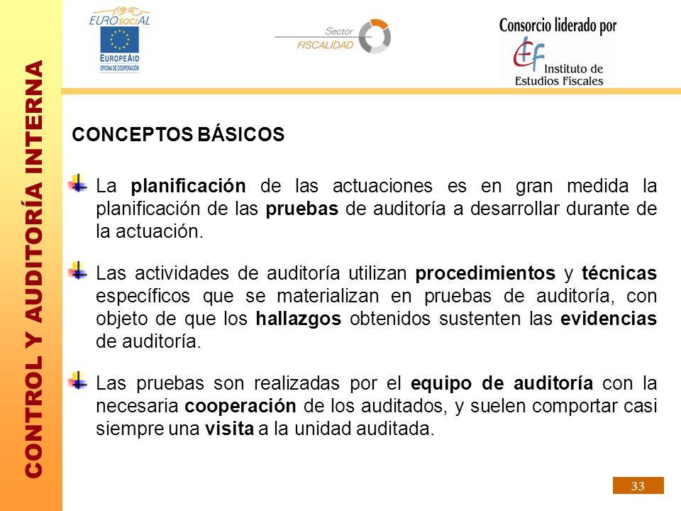 CONTROL Y AUDITORÍA INTERNA 33 CONCEPTOS BÁSICOS La planificación de las actuaciones es en gran medida la planificación de las pruebas de auditoría a