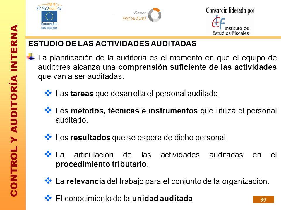 CONTROL Y AUDITORÍA INTERNA 39 ESTUDIO DE LAS ACTIVIDADES AUDITADAS La planificación de la auditoría es el momento en que el equipo de auditores alcan