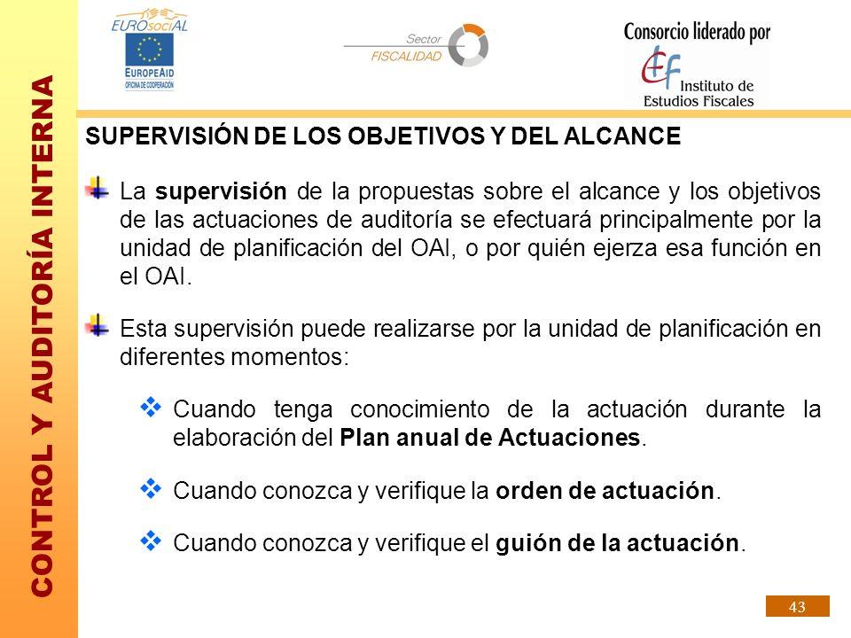 CONTROL Y AUDITORÍA INTERNA 43 SUPERVISIÓN DE LOS OBJETIVOS Y DEL ALCANCE La supervisión de la propuestas sobre el alcance y los objetivos de las actu
