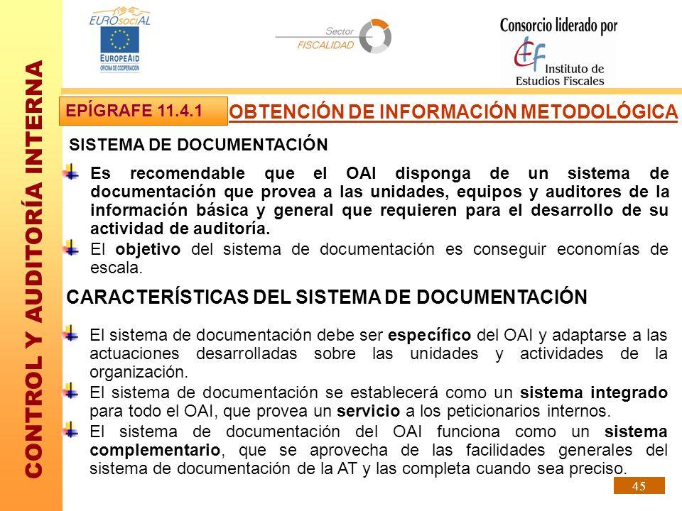CONTROL Y AUDITORÍA INTERNA 45 SISTEMA DE DOCUMENTACIÓN Es recomendable que el OAI disponga de un sistema de documentación que provea a las unidades,